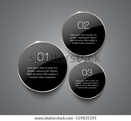 Set of glossy banners with shiny silver / metallic rings for business design, infographics, reports, progress, step presentation, number options, websites or workflow layout. Clean and modern style - stock vector