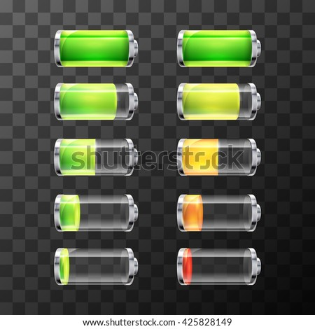 Set of glossy battery icons with different charge level isolated on white - stock vector