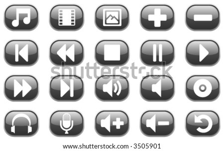 Set of 20 glossy black multimedia audio and video icons. - stock vector