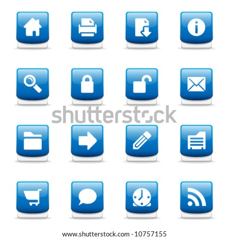 Set of glossy blue web and internet icons - stock vector
