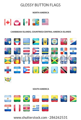 Set of glossy button flags -  North AND South America, Caribbean Islands, countries, Central America Islands.. Vector EPS10 illustration.  - stock vector