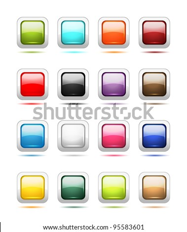 Set of glossy button icons for your design - stock vector