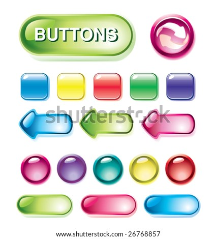 Set of glossy buttons for design