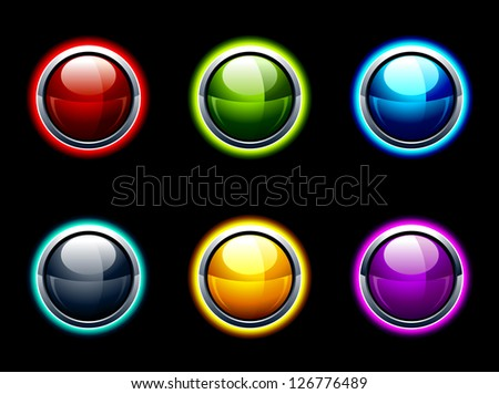 Set of glossy buttons. High tech style. Layered. Vector illustration. - stock vector