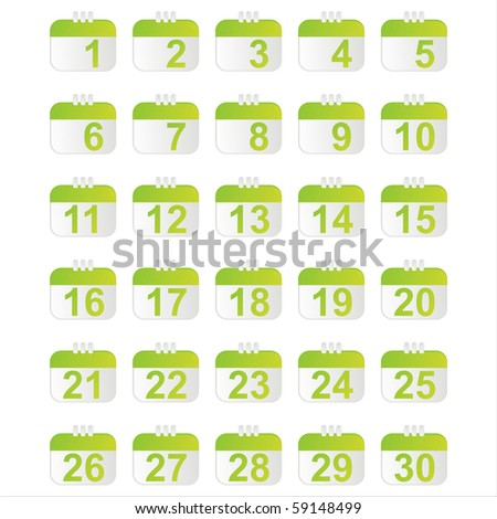 set of 30 glossy calendar icons
