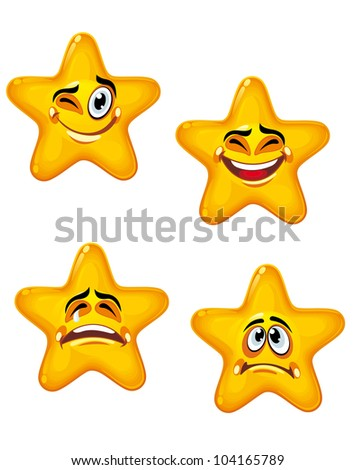 Set of glossy cartoon stars with different emotions, such logo. Jpeg version also available in gallery - stock vector