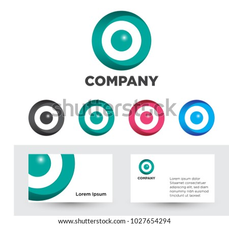 Set glossy circle logos business card stock vector 1027654294 set of glossy circle logos and business card template in vector format reheart Choice Image