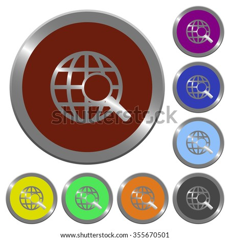 Set of glossy coin-like color web search buttons. - stock vector