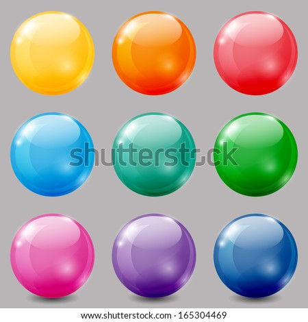 Set of glossy colored balls on grey background. - stock vector