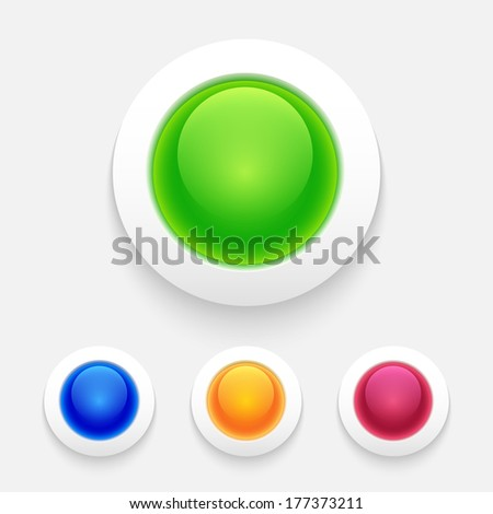 Set of glossy colorful buttons. Vector illustration - stock vector