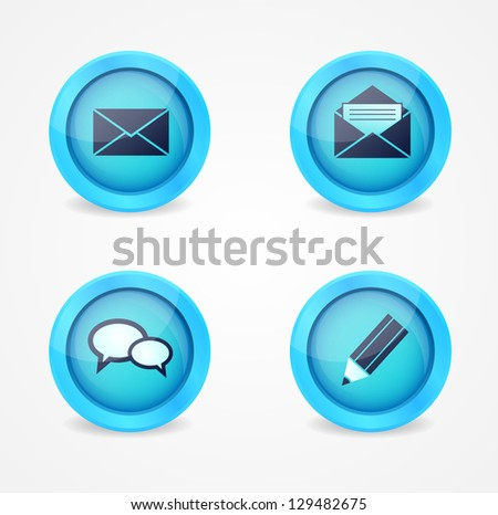 Set of glossy communication vector icons