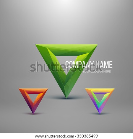 Set Of Glossy Logo Design. Abstract Polygon Triangle. Colorful Icon. Vector Illustration.  - stock vector