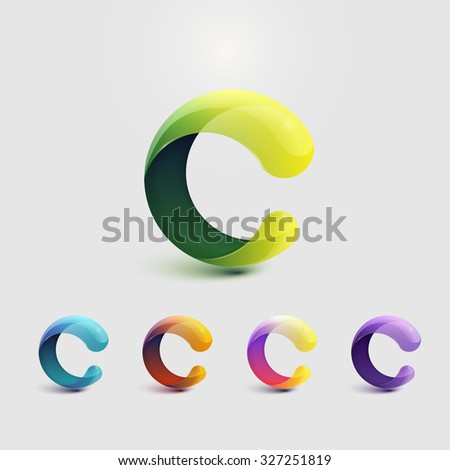 Set Of Glossy Logo Design. Letter C. Colorful Icons. Vector Illustration. - stock vector