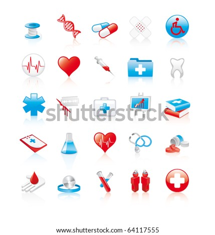 Set of 20 glossy medical icons - stock vector