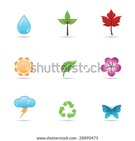 Set of glossy nature, environmental icons - stock vector