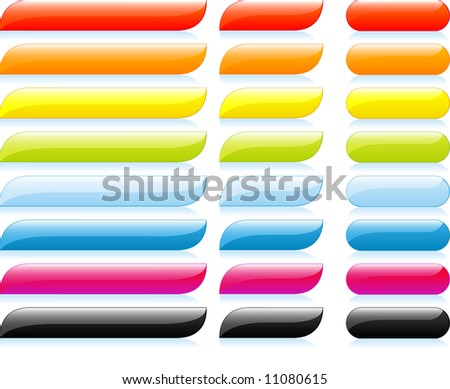 Set of glossy navigation buttons and captions - stock vector