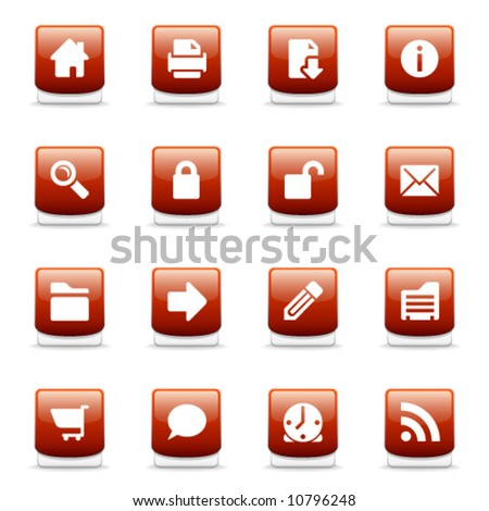 Set of glossy red web and internet icons - stock vector
