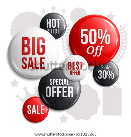 Set of glossy sale buttons or badges. Product promotions. Big sale, special offer, hot price. Vector.