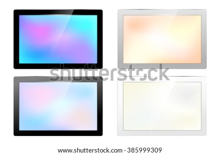 Set of glossy screen frames for your text - isolated on white background. Vector illustration.
