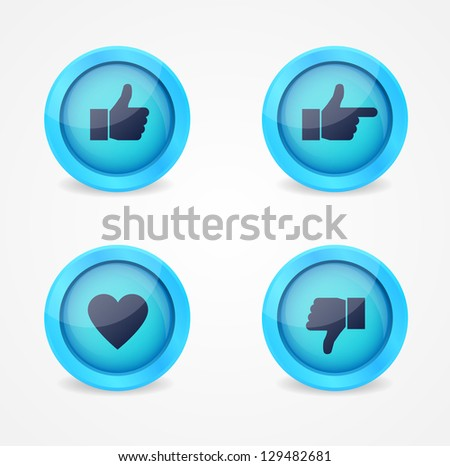 Set of glossy social vector icons - stock vector