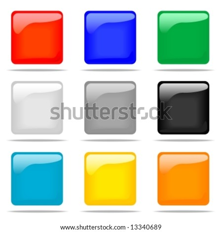 Set of glossy square buttons in nine different colors. - stock vector