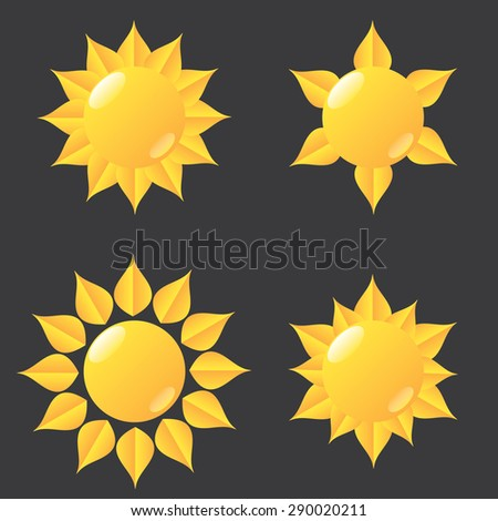 Set of glossy sun icons. Vector illustration - stock vector