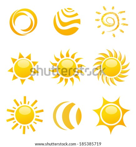 Set of glossy sun images - stock vector
