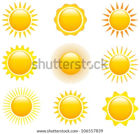 Set of glossy sun images. Vector illustration