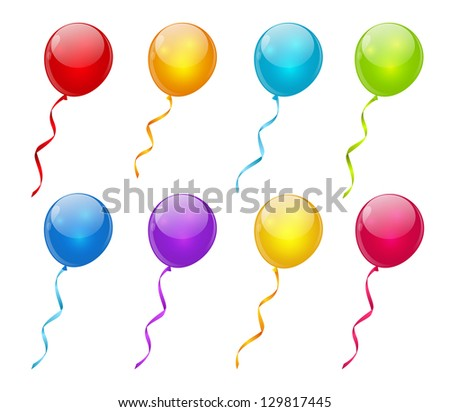 Set of glossy vector balloons - stock vector