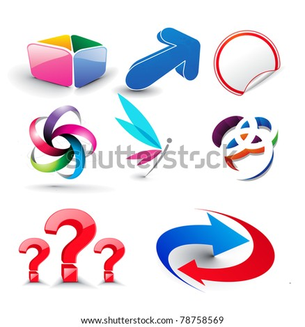 set of glossy vector icon set - stock vector