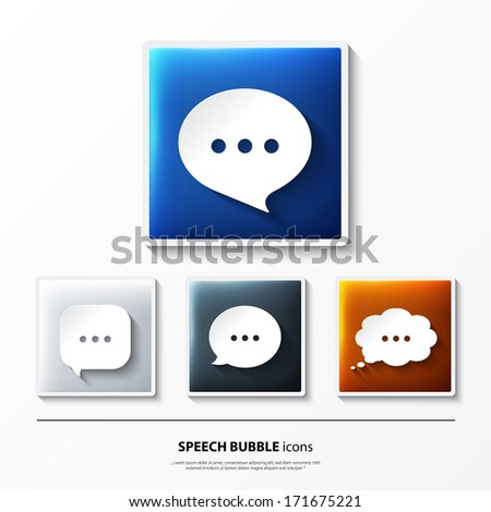 Set of glossy vector icons on button with speech bubbles. - stock vector