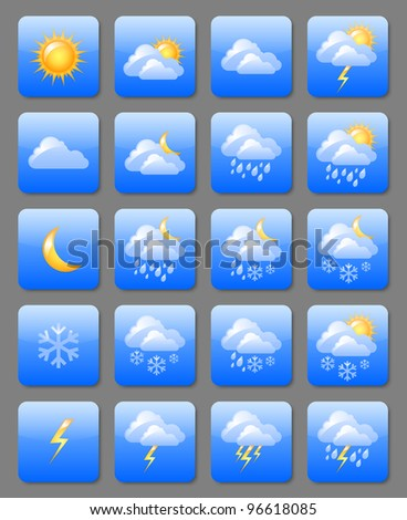 Set of glossy weather icons useful for web design purposes - stock vector