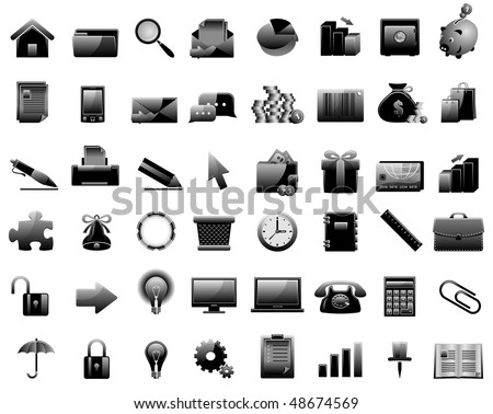 Set of 48 glossy web icons. Shopping, business and money icon set.