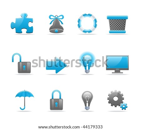Set of 12 glossy web icons. Shopping, business and technology icon set. Part 3 (see other in my portfolio) - stock vector