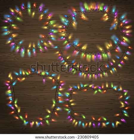 Set of Glowing Christmas Garland made of lights on wooden background. EPS 10 vector file included - stock vector