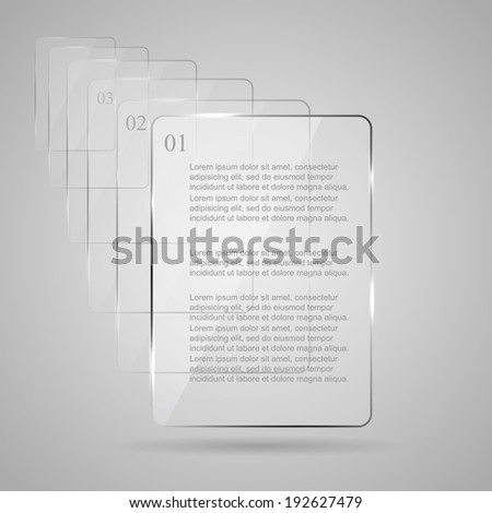 Set of glowing glass panels on gray background, illustration.  - stock vector