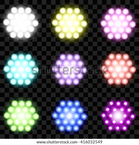 Set of glowing LEDs of different colors - stock vector