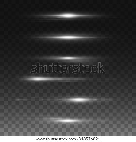 Set of glowing light effect. Isolated on black transparent background. Vector illustration, eps 10. - stock vector