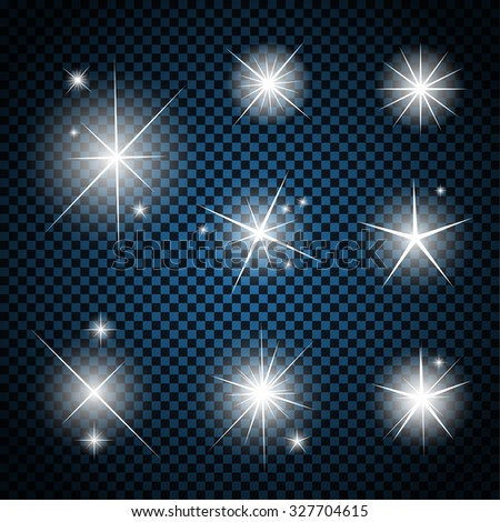 Set of Glowing Light Stars with Sparkles Vector Illustration EPS10 - stock vector