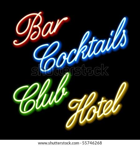 Set of glowing neon signs. Vector. - stock vector