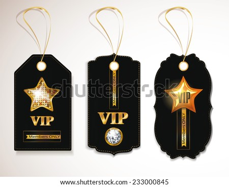 Set of gold and black VIP tags - stock vector