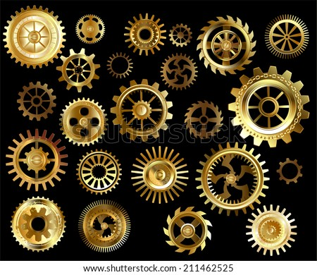 Set of gold and brass gears on a black background. - stock vector