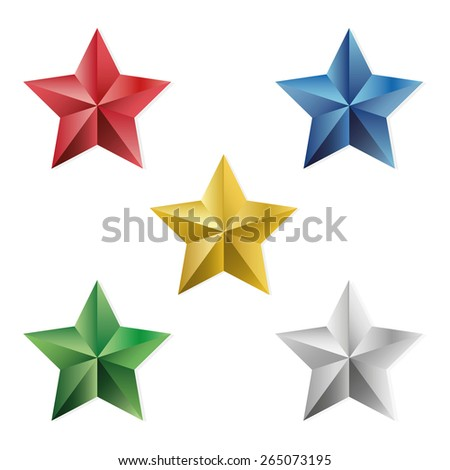 Set of gold and precious stars. Vector, isolated object on a white background - stock vector