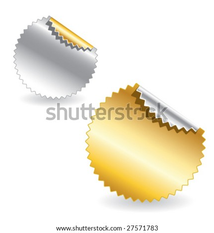 set of gold and silver starburst realistic vector labels - stock vector