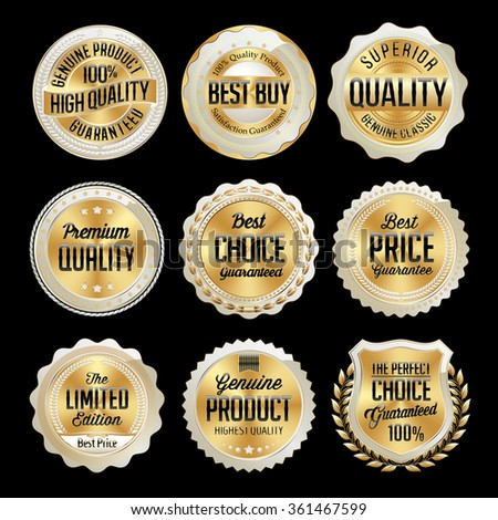 Set of Gold and White Badge on Black Background.Best Buy, Premium Quality, Genuine Product. - stock vector