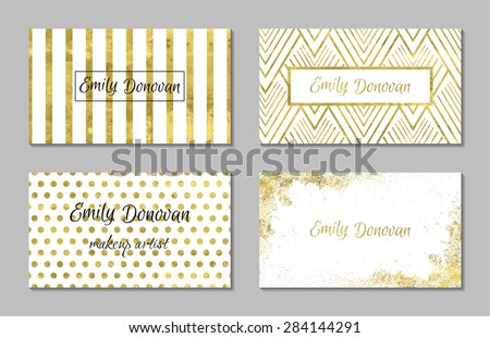 Set of 4 gold and white business card template or gift cards.  Texture of gold foil. Luxury vector illustration. Easy editable template. Space for  text. Line, confetti. - stock vector