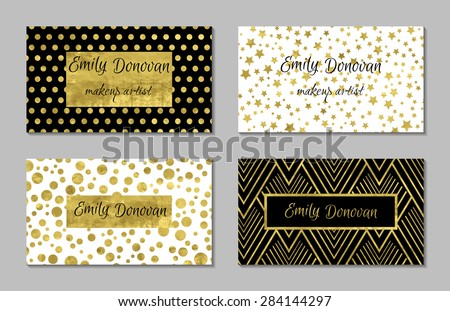 Set 4 gold white business card stock vector royalty free 284144297 set of 4 gold and white business card template or gift cards texture of gold cheaphphosting Image collections