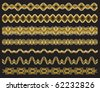 Set of gold chains on black background - stock vector
