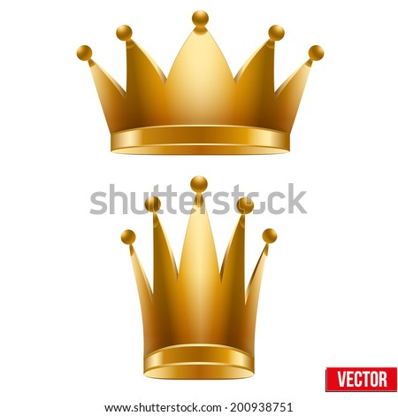Set of Gold classic royal Crowns. King and Queen. Vector Illustration and Isolated On White Background.