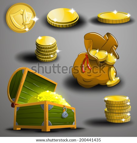 Set of gold coins. Vector. - stock vector